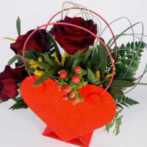 Flowerbox serce z czerwonymi różami