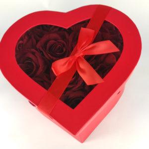 flowerbox duże serce z różami