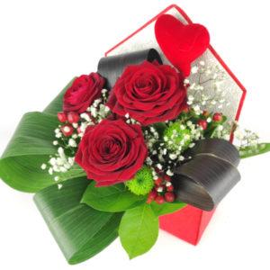 Flowerbox koperta z różami