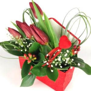 Flowerbox koperta z tulipanami